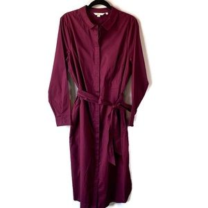 Boden Long Sleeve Freya Shirt Dress Maroon 16L